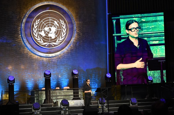 NEW YORK, NY - JUNE 29: Founder of Parley For The Oceans Cyrill Gutsch speaks at the United Nations x Parley For The Oceans Launch Event at the United Nations General Assembly Hall on June 29, 2015 in New York City. (Photo by Jamie McCarthy/Getty Images for Parley for the Oceans)